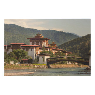 Buddhist Temple By River Wood Print