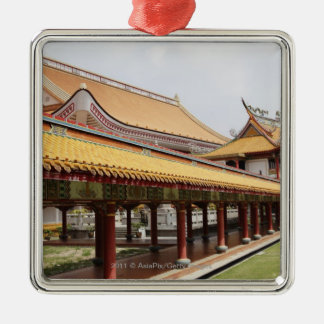 Buddhist temple grounds Silver-Colored square decoration