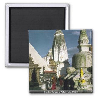 Buddhist Temple in Kathmandu, Nepal Square Magnet