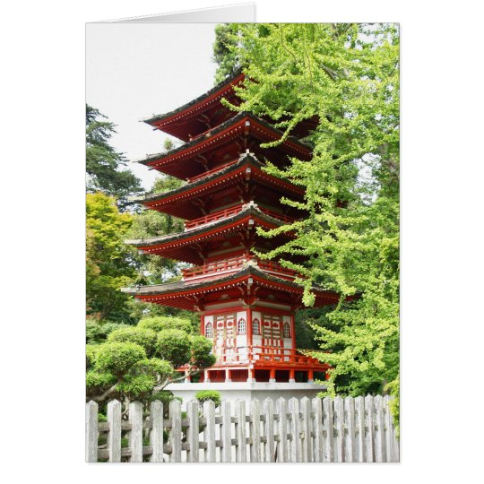 Buddhist Wooden Pagoda Card