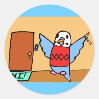 Buddie Goes Home Round Sticker