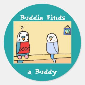 Buddie the Budgie Round Sticker