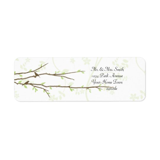 Budding Branches with Birds Mailing Label