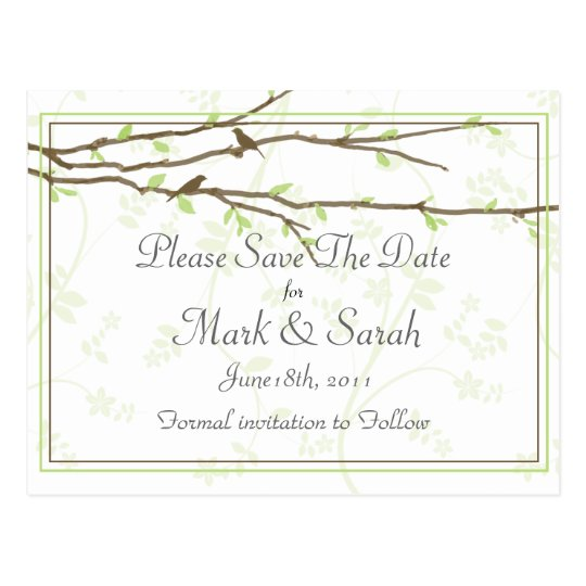 Budding Branches with Birds Save the Date Postcard