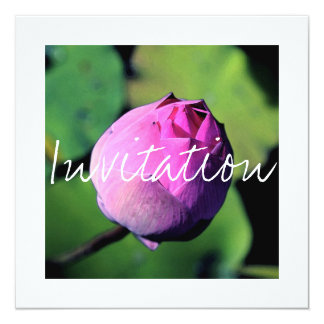 """BUDDING LOTUS FLOWER"" BIRTHDAY INVITATION CARD"