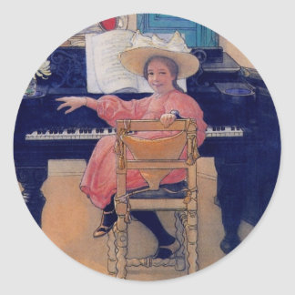 Budding Piano Diva Round Sticker