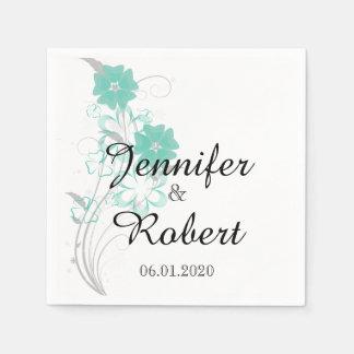 Budding Romance in Aqua Wedding Napkin Paper Serviettes