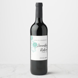Budding Romance in Aqua Wedding Wine Label