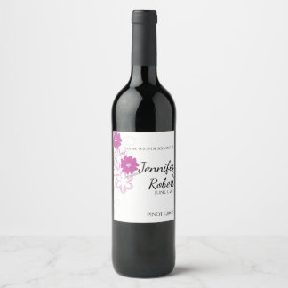 Budding Romance in Fuchsia Wedding Wine Label