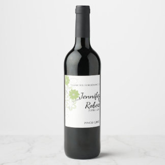 Budding Romance in Olive Green Wedding Wine Label