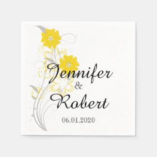 Budding Romance in Yellow Wedding Napkin Paper Serviettes