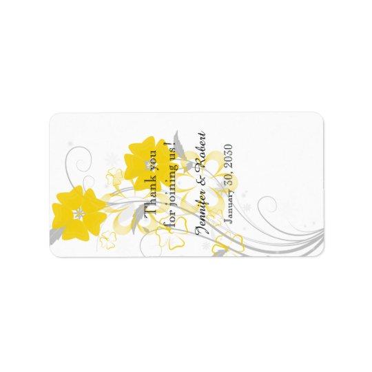 Budding Romance Yellow Wedding Lip Balm Label