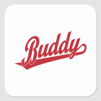 Buddy Script Logo in red Square Sticker