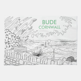Bude Cornwall Cololuring book apparel - Breakwater Kitchen Towels