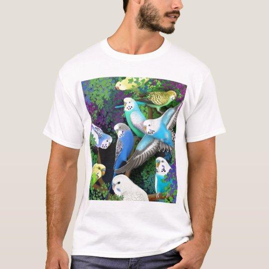 Budgerigar Parakeets and Ferns T-Shirt