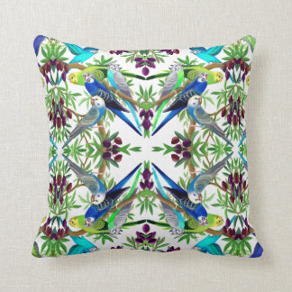 Budgerigar Parakeets in Olive Tree Pillow