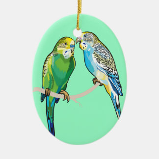budgerigars christmas ornament