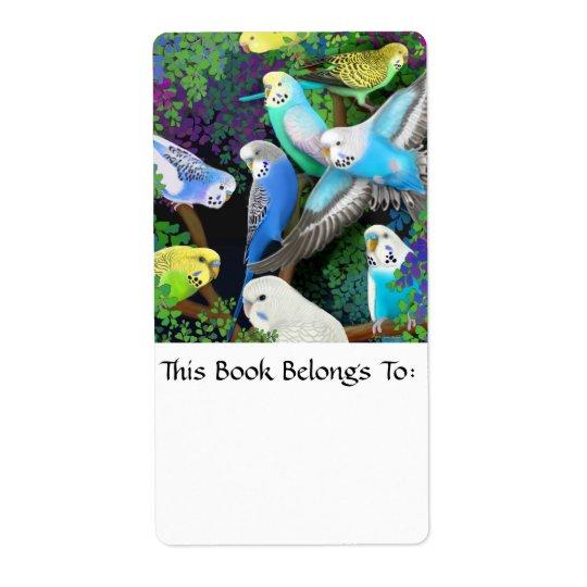 Budgerigars in Ferns Bookplate