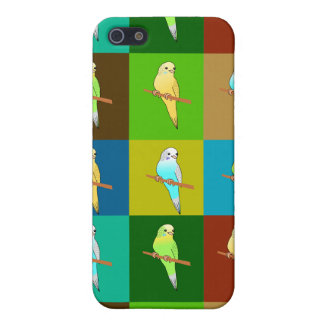 Budgerigars on Earthy Tone Squares Case For The iPhone 5