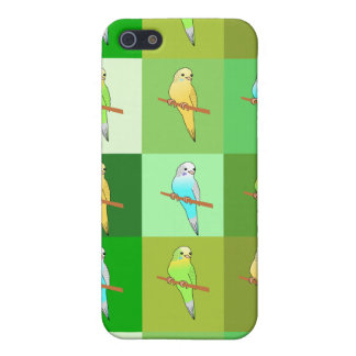 Budgerigars on Green Squares Case For The iPhone 5