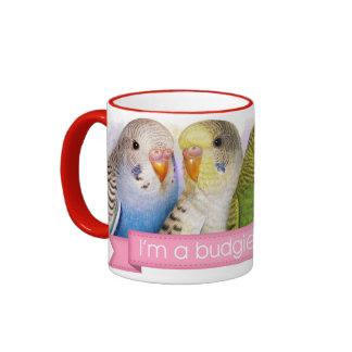 Budgerigars realistic painting coffee mug