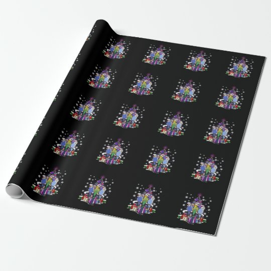 Budgerigars with Christmas Gift and Snowflakes Wrapping Paper