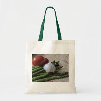 Budget Tote--Asparagus, Garlic & Tomatoes