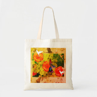 Budget Tote Bag HUMMINGBIRD & FLOWERS