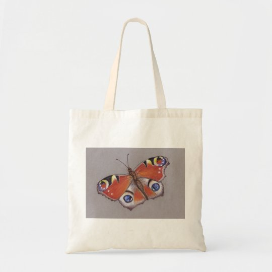 Budget Tote with Peacock Butterfly