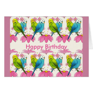 Budgie bird Happy Birthday card