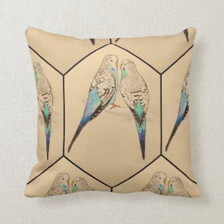Budgie Cushion Watercolour Throw Pillows