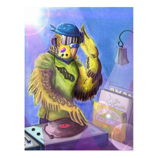 Budgie DJ Postcard