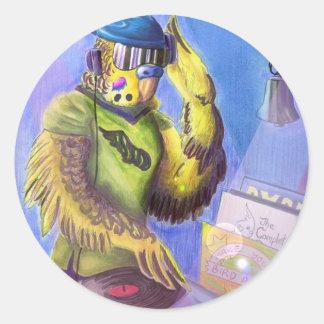 Budgie DJ Round Sticker