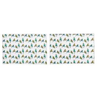 Budgie Frenzy Pair of Pillowcases (choose colour)