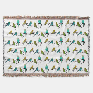 Budgie Frenzy Throw Blanket (choose colour)