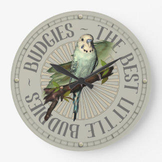 Budgie Love Large Clock