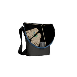 Budgie Pair Black Bag Watercolour (Customise!) Courier Bag