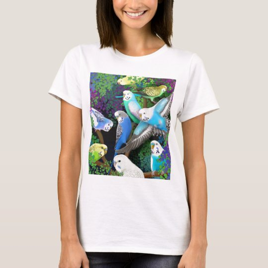 Budgie Parakeets and Ferns Ladies Baby Doll Shirt