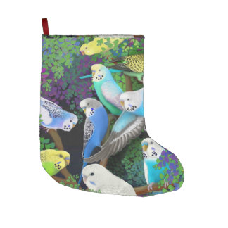 Budgie Parakeets in Ferns Christmas Stocking