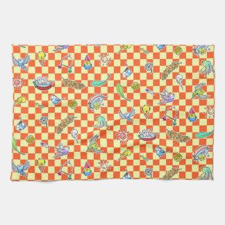 Budgie parrot pattern tea towel