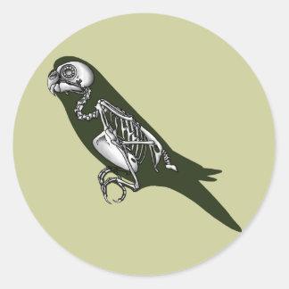 Budgie skeleton round sticker