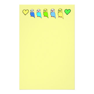 Budgies and Hearts Stationery