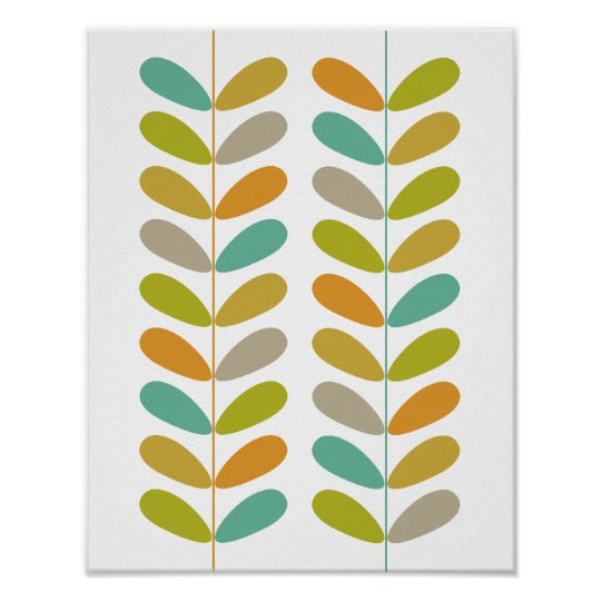 Buds Mid Century Modern Styled Poster - Colourful