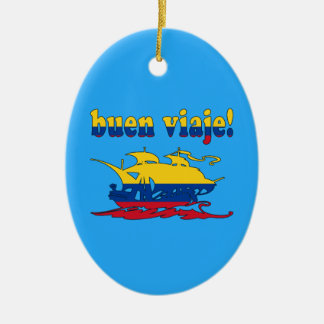 Buen Viaje - Good Trip in Colombian - Vacations Ceramic Oval Decoration