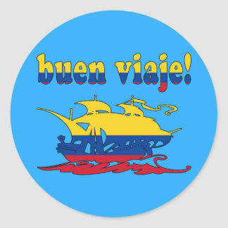 Buen Viaje - Good Trip in Colombian - Vacations Round Sticker