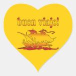 Buen Viaje Good Trip in Spanish Vacations Travel Heart Stickers