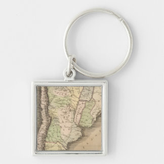 Buenos Aires, Chile, and Patagonia Silver-Colored Square Key Ring