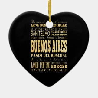 Buenos Aires City of Argentina Typography Art Christmas Ornament