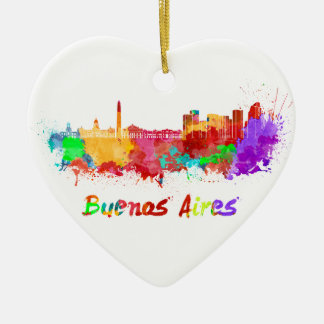 Buenos Aires skyline in watercolor Christmas Ornament