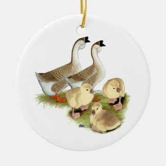 Buff African Goose Family Christmas Ornament